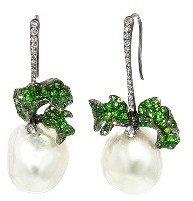 Arunashi Pearl and Demantoid Garnet Leaf Earrings - Blackened Gold
