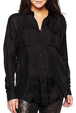 i jeans by Buffalo Long-Sleeve Silk Woven Blouse