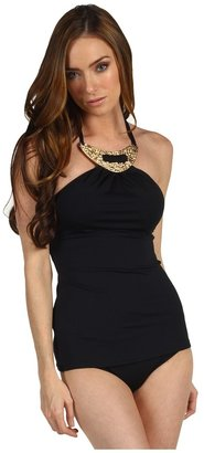 Michael Kors Romanesque Solids Gilded Long Tankini w/ Hipster Bottom (Black) - Apparel