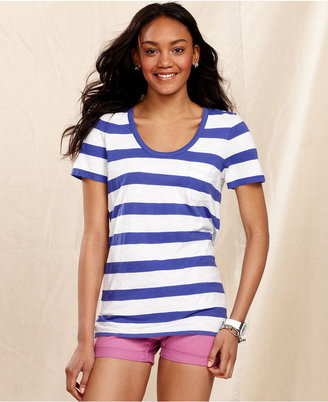 Tommy Hilfiger Tee, Short-Sleeve Striped Scoop-Neck