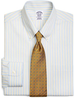 Brooks Brothers Supima® Cotton Non-Iron Regular Fit Button-Down Broadcloth Hairline Double Stripe Dress Shirt