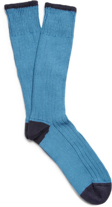 Corgi Ribbed Chunky-Knit Cotton Socks