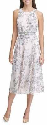 Tommy Hilfiger Diana Floral Chiffon Belted Midi Dress