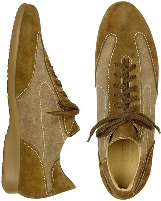 Mariano Napoli Light Brown Canvas and Suede Sneaker Lace-up Shoes