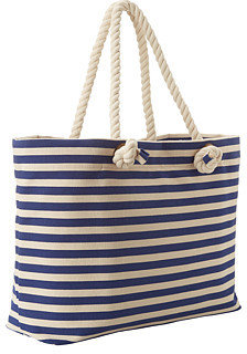 Hat Attack Stripe Tote with Rope Handles & Zip Out Tablet Case