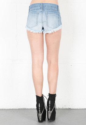 Singer22 Mademoiselle Denim Studded Shorts in Blue