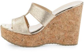 Jimmy Choo Porter Glittered Wedge Sandal, Neutral