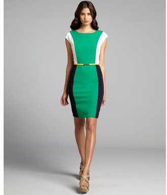 Hayden green and navy colorblock jersey knit belted dress