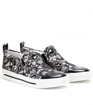 Marc by Marc Jacobs LACE-COATED SLIP-ON SNEAKERS WITH LEATHER TOE CAP