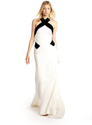 Carolina Herrera Embellished Silk Halter Gown