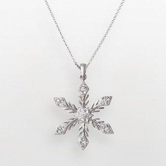 Sterling silver crystal snowflake pendant