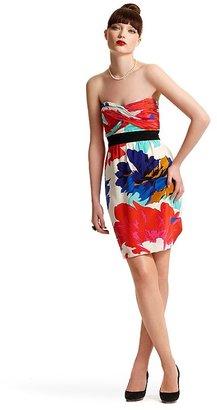 "Tibi Dahlia"" Floral-Print Silk Strapless Dress"