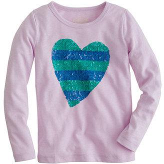 J.Crew Girls' long-sleeve stripe sequin heart tee
