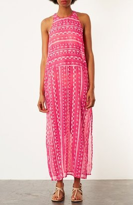 Topshop 'Sunset' Print Maxi Cover-Up Pink Small
