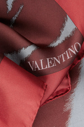 Valentino Tiger-print silk scarf
