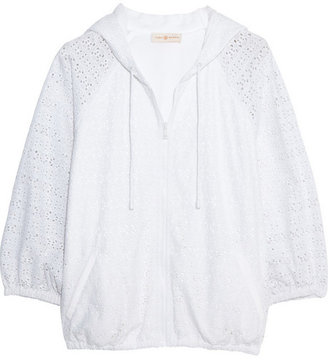 Tory Burch Encintas broderie anglaise cotton hooded top