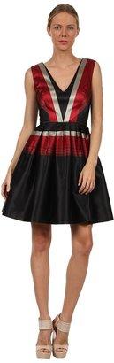 Zac Posen Large Stripe Faille Dress (Black/Red/Taupe) - Apparel