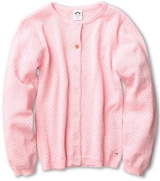 Appaman Kids - Pointelle Contrast Chelsea Cardigan (Toddler/Little Kids/Big Kids) (Pink Sorbet) - Apparel
