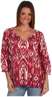 Lucky Brand Alexis Cherry Ikat Peasant Blouse (Multi) - Apparel