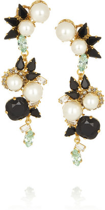 Erdem + VICKISARGE gold-plated Swarovski pearl and crystal clip earrings