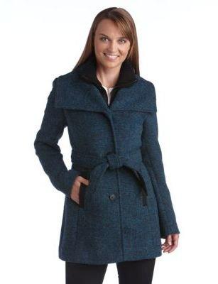 Marc New York ANDREW MARC Knit Collar Zip Front Coat