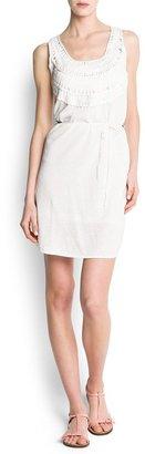 MANGO Linen cotton-blend knit dress