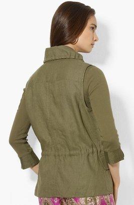 Lauren Ralph Lauren Drawcord Linen Vest Small