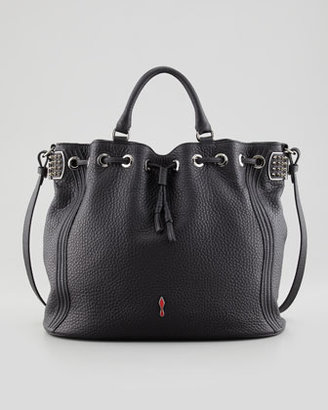 Christian Louboutin Dompteuse Spiked Leather Bucket Bag, Black