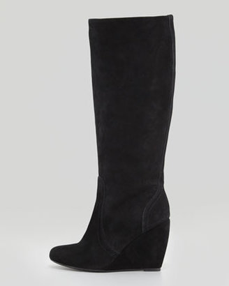 Joie Paira Suede Wedge Knee Boot, Black