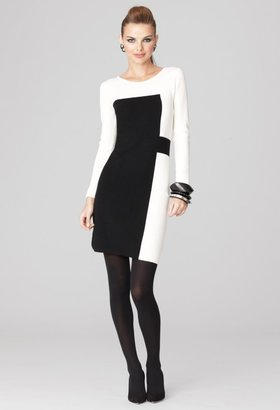 Milly Black and White Dresses - Intarsia Panel Dress