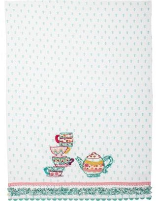 Sur La Table Teapot and Teacups Vintage-Inspired Kitchen Towel