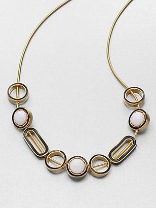 Kenneth Jay Lane Two-Tone Slide Bead Necklace