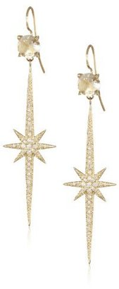Mizuki 14Kt Wire 8mm Crystal Charm Icicle Starburst Diamond Earrings (.60Ct)