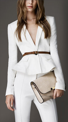 Burberry Fitted Peplum Detail Jacket