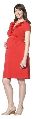 Merona Maternity Short Sleeve V Neck Ruffled Dress