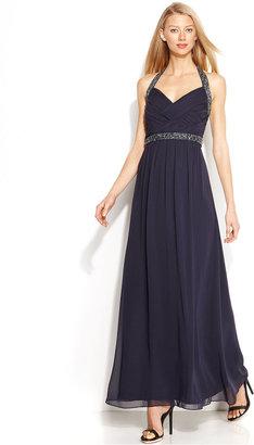 Calvin Klein Sleeveless Beaded Halter Gown