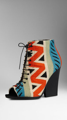 Burberry Tapestry Peep-Toe Ankle Boots