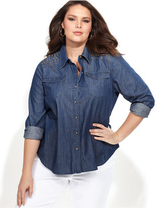 INC International Concepts Plus Size Shirt, Long-Sleeve Studded Chambray
