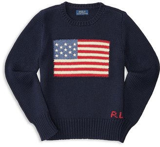Ralph Lauren Childrenswear Girls' American Flag Sweater - Big Kid