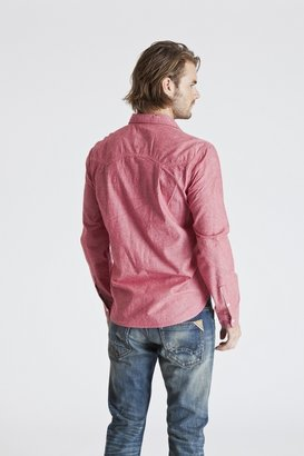 Cult of Individuality Hank Work Shirt In Red Chambray