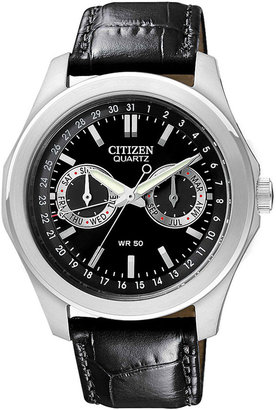 Citizen Men's SL Black Leather Strap Watch 40mm AG0160-02E