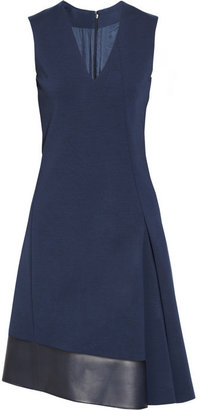 Reed Krakoff Leather-trimmed wool-blend dress