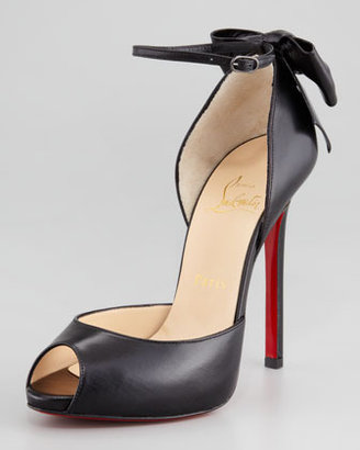 Christian Louboutin Dos Noeud Back-Bow d'Orsay Red Sole Pump, Black