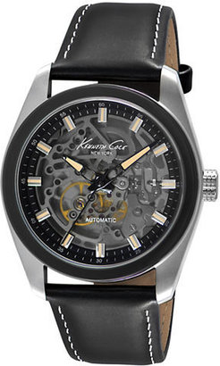 Kenneth Cole NEW YORK Stainless Steel Watch with Smoky Skeleton Dial