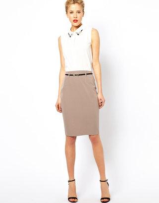 Asos Belted Pencil Skirt