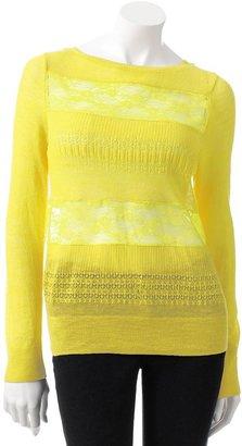 Lauren Conrad pointelle lace sweater - women's