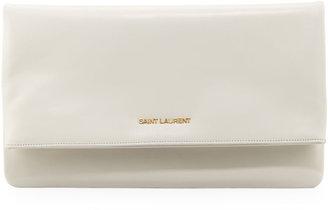 Saint Laurent Letters Large Fold-Over Clutch Bag, Chalk