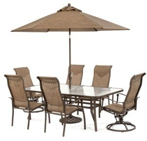 """Furniture Oasis Outdoor Aluminum 7-Pc. Dining Set (84"""" x 42"""" Dining Table, 4 Dining Chairs and 2 Swivel Rockers), Created for Macy's"""