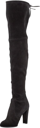 Stuart Weitzman Highland Stretchy Suede Over-the-Knee Boot, Black