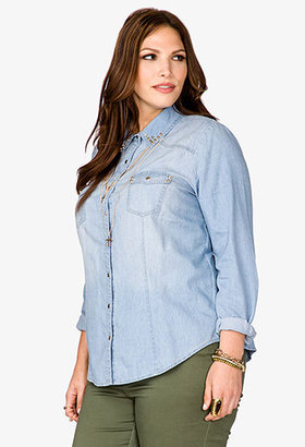 Forever 21 FOREVER 21+ High-Voltage Chambray Shirt